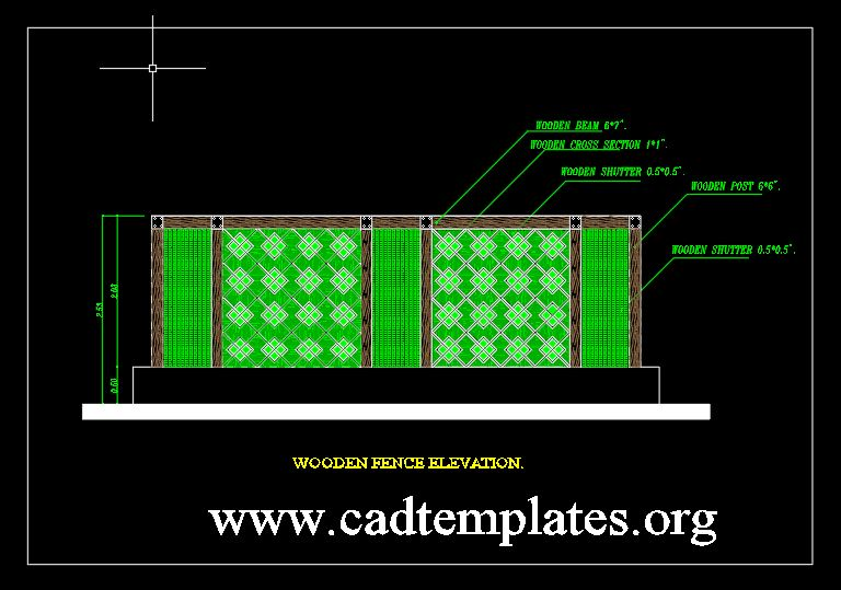 Wooden Fence Elevation CAD Templates DWG