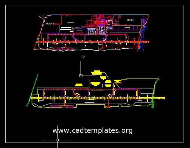 Aircraft Park Layout Plan CAD Template DWG