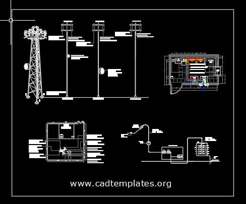 Antenna Tower Electric Scheme Detail CAD Template DWG