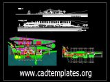 Boat Club Layout Plan and Elevation CAD Template DWG