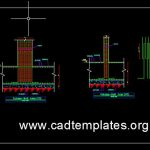 Column Raft joint Reinforcement Detail CAD Template DWG