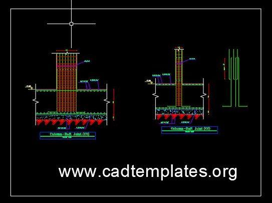 Column Raft joint Reinforcement Detail CAD Template DWG