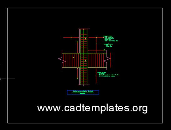 Column Slab Typical Reinforcement Detail CAD Template DWG