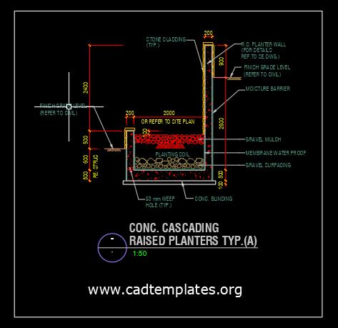 Concrete Cascading Raised Planters CAD Template DWG