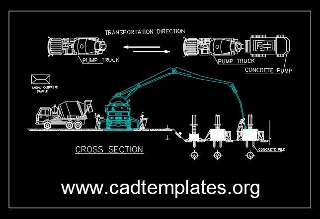 Concrete Pump CAD Template DWG