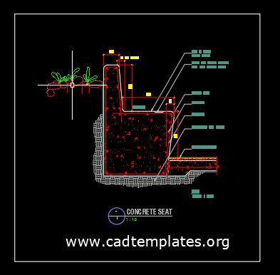 Concrete Seat Typical Section Detail CAD Template DWG