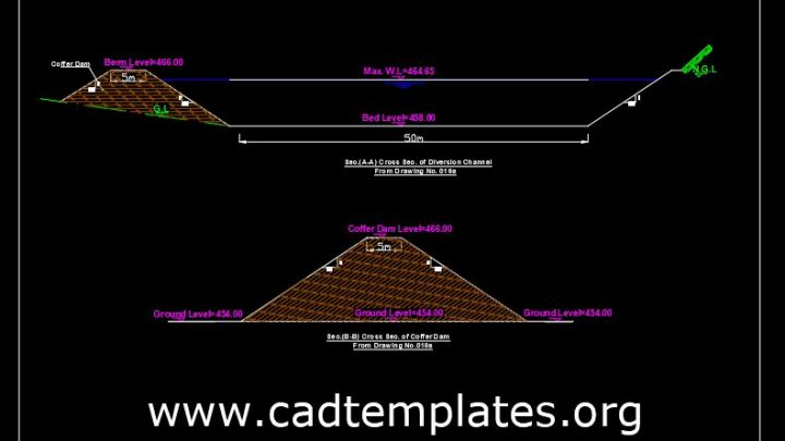 Cross Section of Dam Diversion Channel CAD Template DWG