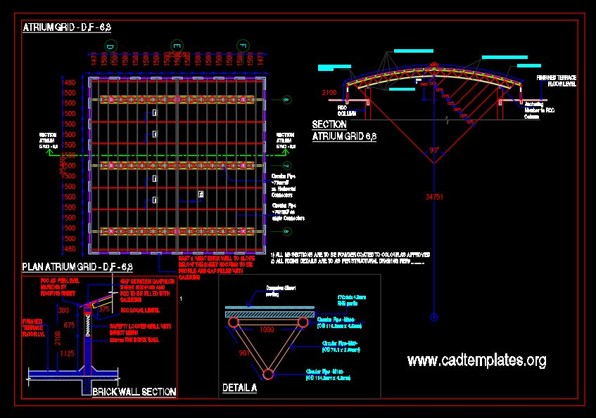 Double Staircase Atrium Elevation and Sections Details CAD Template DWG