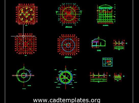 Elevated Tank Reinforcement Details CAD Template DWG