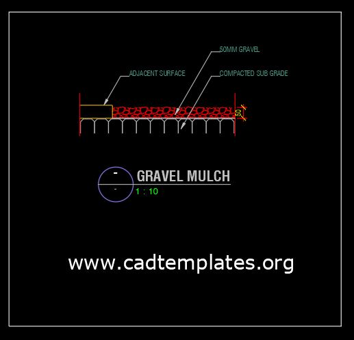 Gravel Mulch Section Detail CAD Template DWG