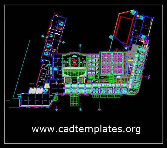 Hotel Mezzanine Floor General Ceiling Layout CAD Template DWG