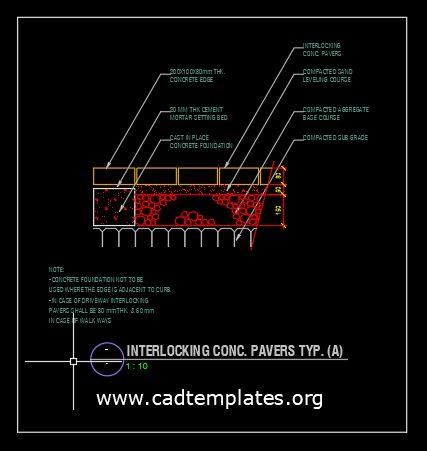 Interlocking Concrete Pavers CAD Template DWG