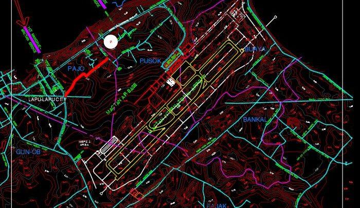 International Airport Topo Plan CAD Template DWG