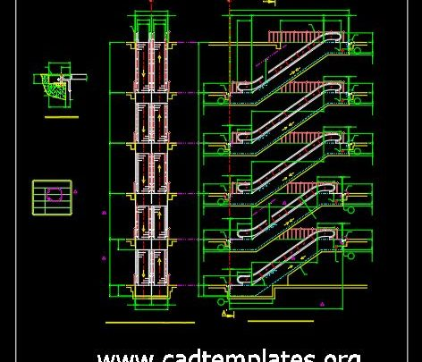 Mechanical Escalator Elevation Details CAD Template DWG
