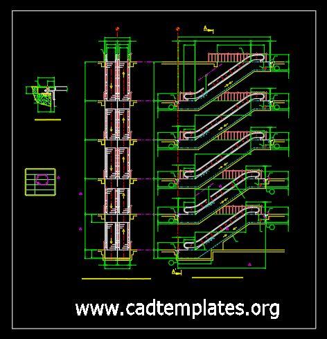 Mechanical Escalator Elevation Details CAD Template DWG