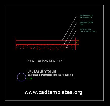One Layer System Asphalt Paving On Basement CAD Template DWG