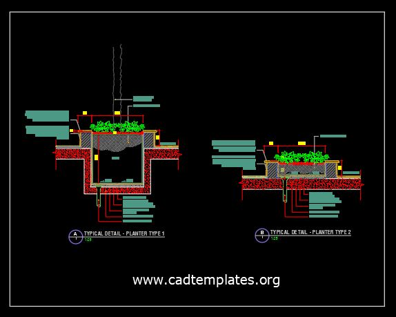 Planter Typical Details CAD Template DWG
