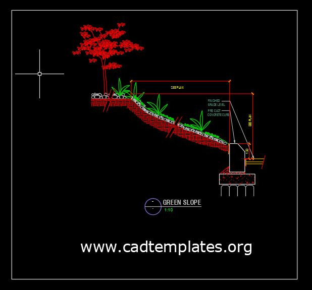 Planting on Slope Detail CAD Template DWG