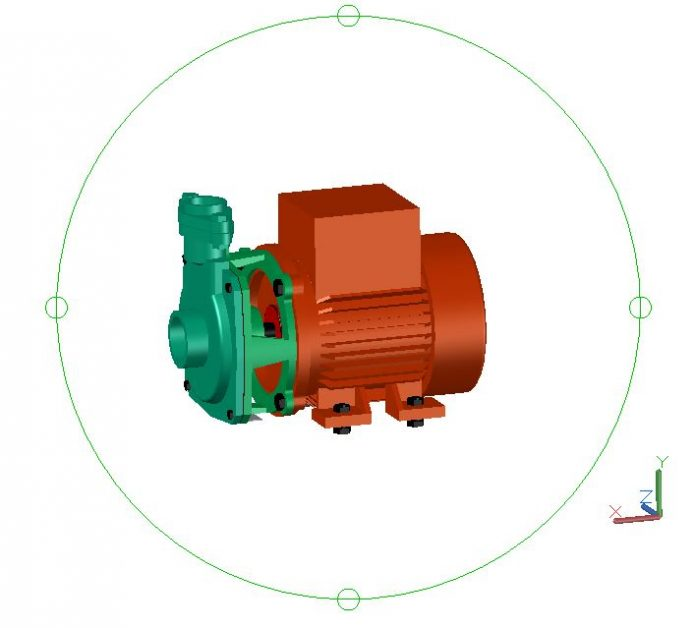 Pump Motor 3D Model CAD Template DWG