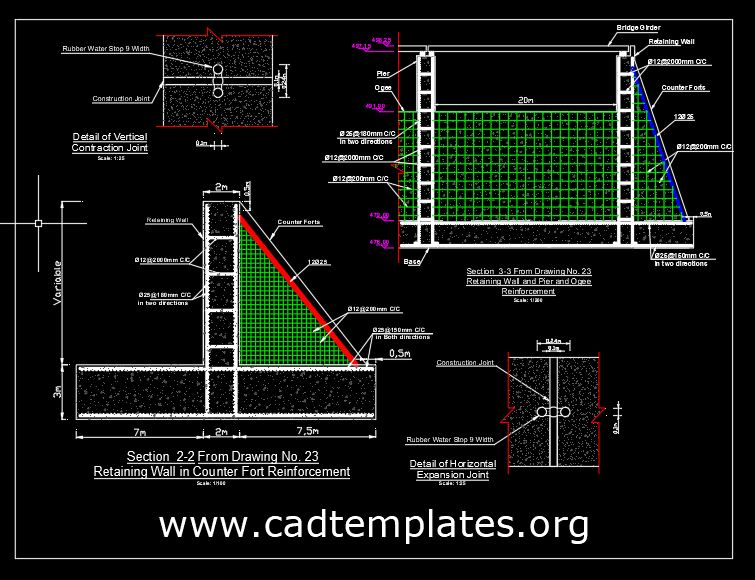 Retaining Wall in Counter Fort Reinforcement CAD Template DWG