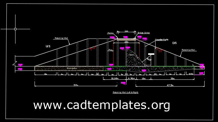 Retaining Wall of Spillway Side Detail CAD Template DWG