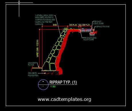 Riprap Typical Section Detail CAD Template DWG