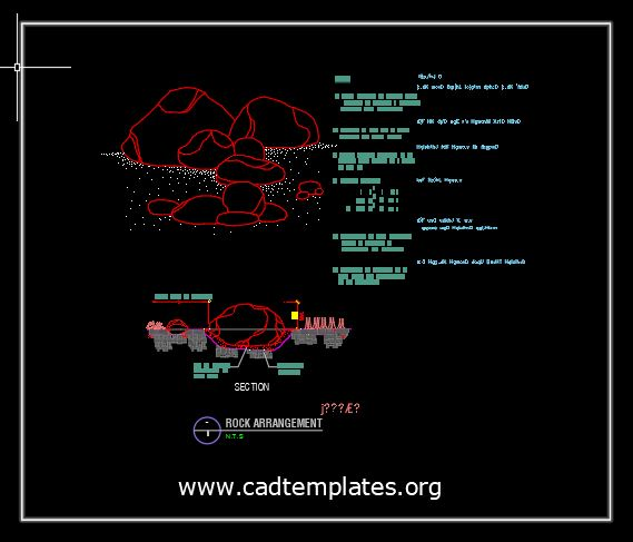 Rock Arrangement Section Detail CAD Template DWG
