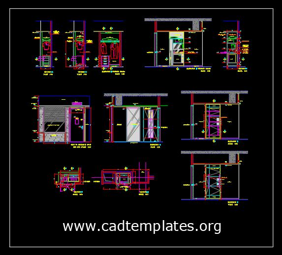 Sample Room Service Cabinet and Wardrobe Details CAD Template DWG