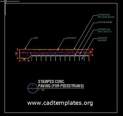 Stamped Concrete Paving For Pedestrians CAD Template DWG
