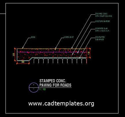 Stamped Concrete Paving for Roads CAD Template DWG