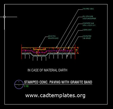 Stamped Concrete Paving with Granite Band CAD Template DWG