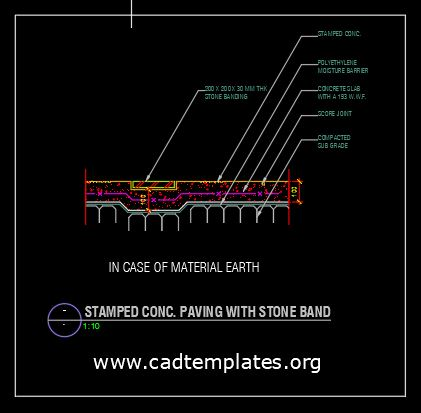 Stamped Concrete Paving with Stone Band CAD Template DWG