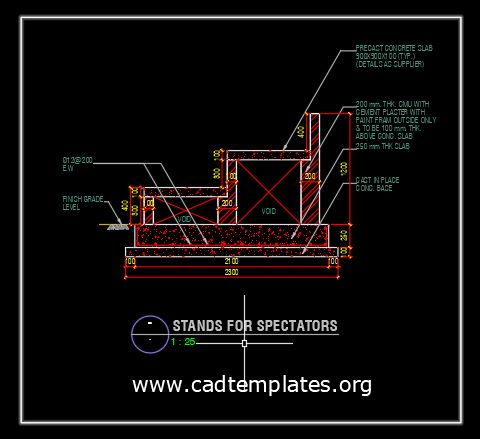 Stands For Spectactors Section Details CAD Template DWG