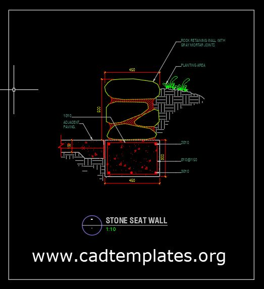 Stone Seat Wall Section Detail CAD Template DWG