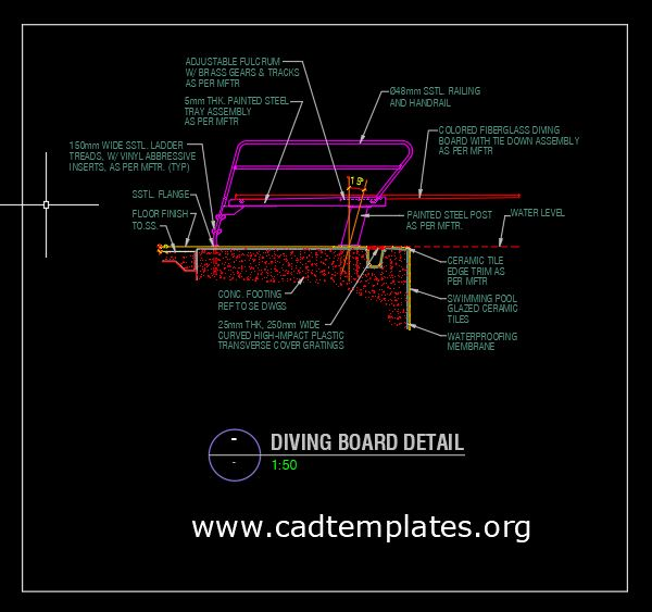 Swimming Pool Diving Board Detail CAD Template DWG