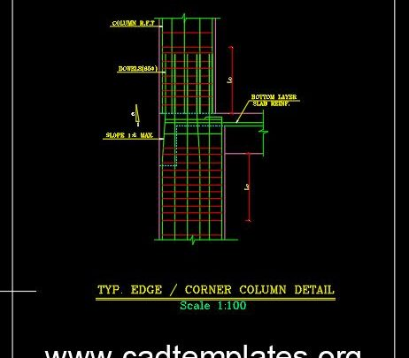 Typical Corner Column Reinforcement Detail CAD Template DWG