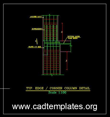 Typical Corner Column Reinforcement Detail CAD Template DWG