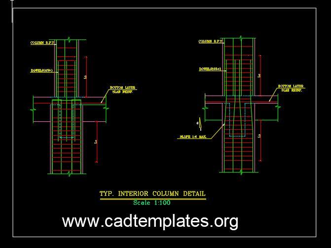 Typical Interior Column Reinforcement Detail CAD Template DWG
