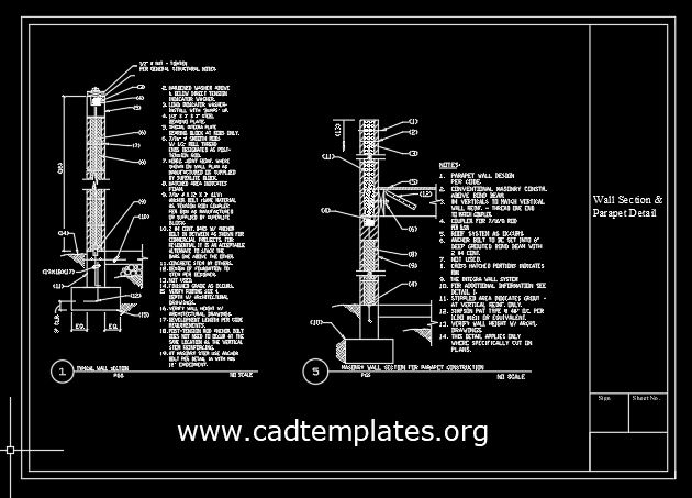Wall Section and Parapet Details CAD Template DWG