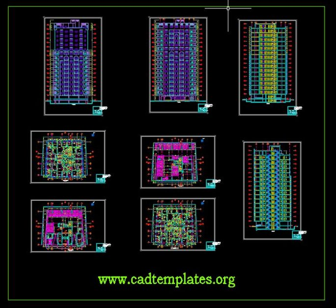 15 levels Residential Building Plan and Elevation CAD Template DWG