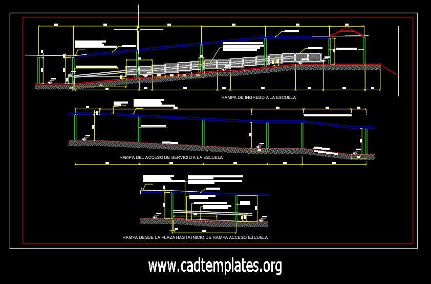 Building Approach Ramp Elevation CAD Template DWG