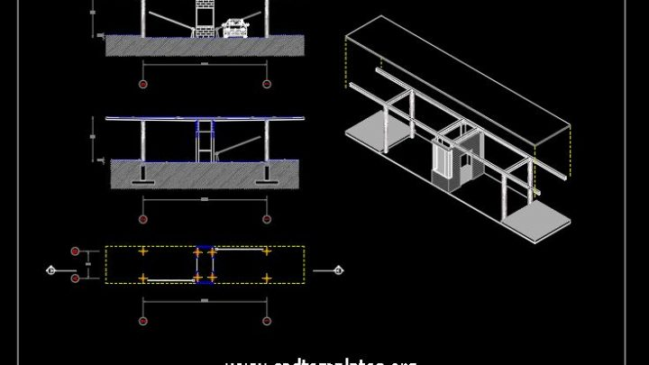 Cars Control Square Plan Details CAD Template DWG