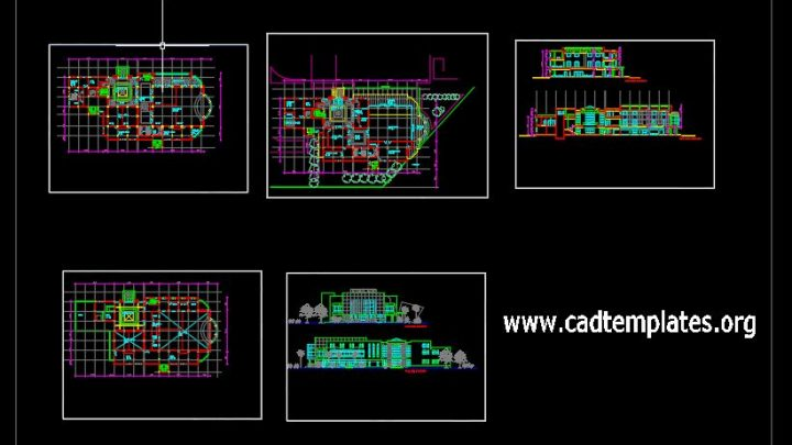 Conference Hall Layout Plan and Elevations CAD Template DWG