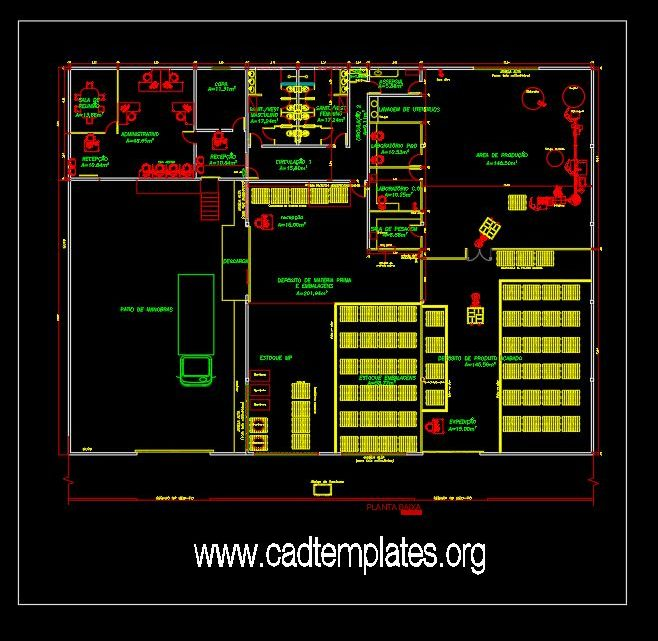 Cosmetic Products Factory Layout Plan CAD Template DWG