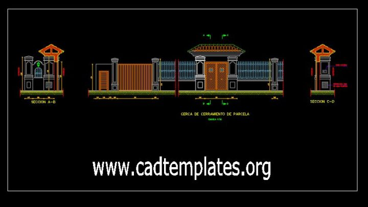 Cover Of Entrance Elevation CAD Template DWG