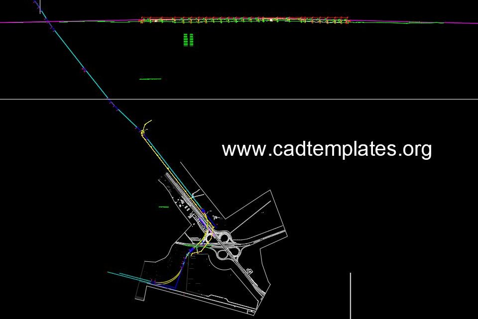 Curve Bridge Over Highway Plan and Profil CAD Template DWG