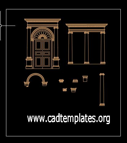 Historical Doors Columns Details CAD Template DWG