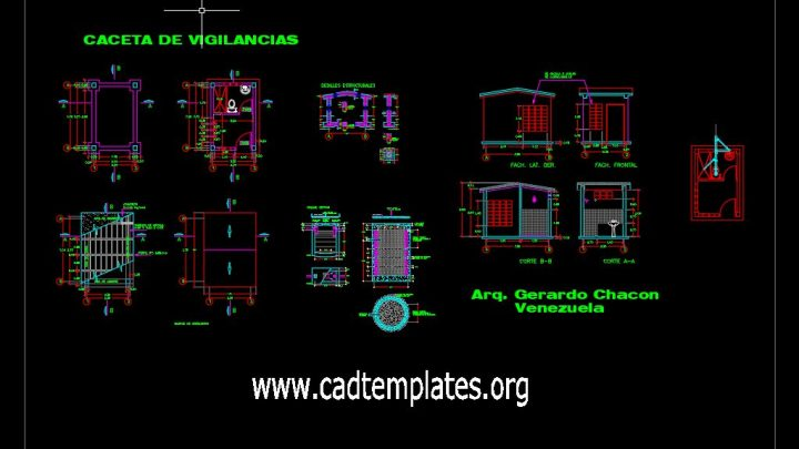 House Of Monitoring Plan and Elevation Details CAD Template DWG