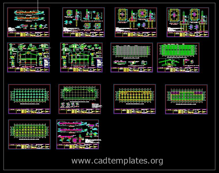 Industrial Hangar CAD Template DWG