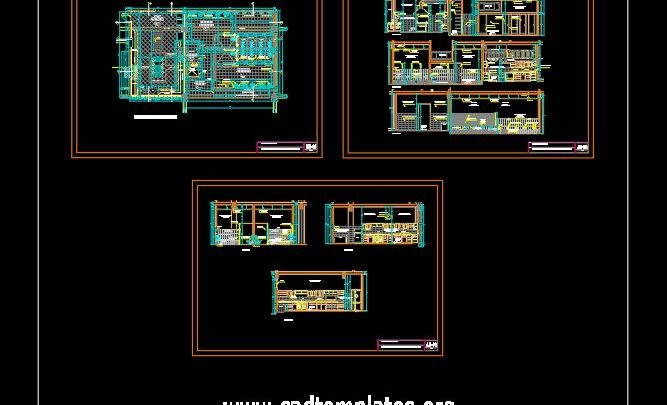 Kitchen and Publics Bathroom Project CAD Template DWG